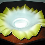 Victorian Yellow Cased Glass Brides Basket Bowl