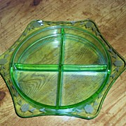 50's Green Glass Sectional Serving Dish