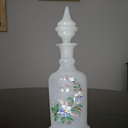 Victorian Hand Painted Opaline Glass Bottle