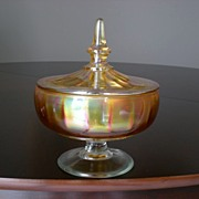 Stretch Glass Marigold Covered Candy Dish