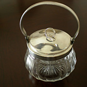 Italian Glass Condiment Jar with Silver Plated Lid and Handle