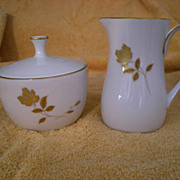 Noritake China Tudor Rose #6658 Cream and Covered Sugar Set
