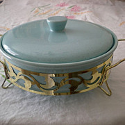 50's BAUER Delph Blue Covered Casserole and Metal Holder