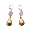 10k Yellow Gold Faceted Teardrop & Rose Quartz Earrings