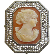 Art Deco 10k White Gold Filigree Framed Shell Cameo Pin
