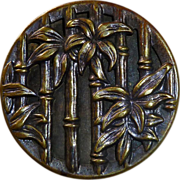 Vintage Large Brass Picture Button Bamboo & Flowers