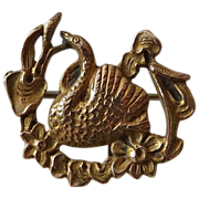 Antique Art Nouveau 10k Yellow Gold Swan Pin