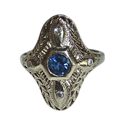 Art Deco 14k White Gold Engraved Filigree Sapphire Ring