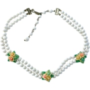 White Glass Bead & Celluloid Flowers Dog Collar Necklace