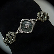 Art Deco 14K WG Diamond Camphor Crystal Filigree Bracelet