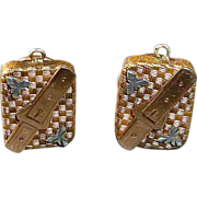 Antique GF Buckle Motif Cuff Links Rose Gold & Silver Accents