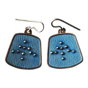 Norway Sterling & Enamel KAR Modernist Earrings