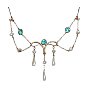 Antique Art Nouveau 10k Festoon Necklace Fresh Water Pearls
