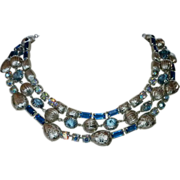 Triple Strand Blue Rhinestone, Jewels & Silvertone Bead Necklace