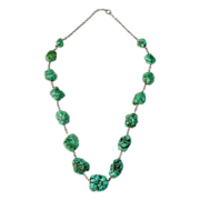 Sterling Necklace w Graduated Turquoise Nuggets c1920s