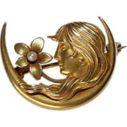Art Nouveau 14k Gold Crescent Pin w Woman & Flower