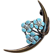 Victorian 14k Krementz Pin Crescent w Enamel & Pearl Flowers