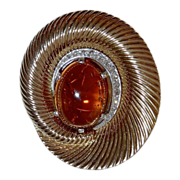 Marcel Boucher Sculptural Pin w Large Natural Citrine Cab