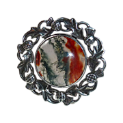 John Hart Celtic Sterling Moss Agate Thistle Pin