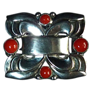 Coro Norseland Sterling Pin w Genuine Coral