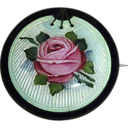 Art Deco Norwegian Sterling Enamel Rose Brooch O.F. Hjortdahl