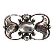 Georg Jensen Sterling Silver Pearl Pin w Flowers #236