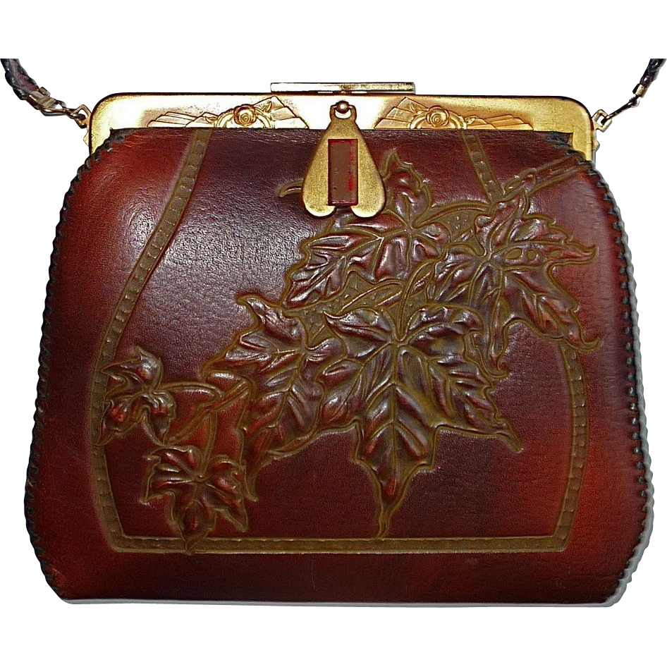 Arts amp crafts tooled leather purse w maple leaves from bejewelled on