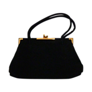 Vintage 1950s Koret Quality Black Suede Purse