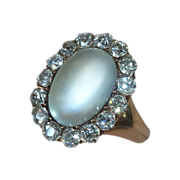 Antique Victorian 14k Moonstone Ring Mine Cut Diamonds