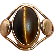 14k Yellow Gold Split Band Tiger Eye Ring