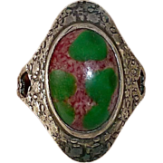 Arts & Crafts Sterling Cigar Band Ring w Art Glass Cab