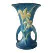 Roseville Zephyr Lily Double Handle Blue Vase