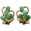 14k Yellow Gold & Jadeite Teardrop Earrings c1950s