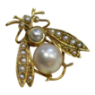 Vintage 14k Pearl Winged Insect Bug Pin