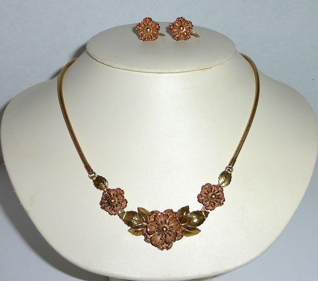 krementz yellow gf necklace earrings set from