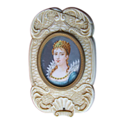 Antique Hand Carved Ivory Mirror Signed Portrait on Ivory