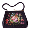 1950s Vintage Black Beaded Purse with Floral Needlepoint Center