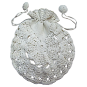 Vintage Lacy Crochet White Linen Drawstring Purse