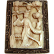 Chinese Woman Carved Ivory Pin Gilt Sterling Filigree Frame