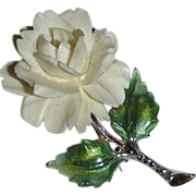 Signed Sterling & Marcasite Flower Pin w Carved Rose
