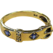 Vintage 9k YG Belt Ring Sapphires & Diamonds
