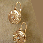 SOLD RARE! Gorgeous Antique Victorian 18K Yellow Gold Rose & Vine Floral Cut Etched PEARL Circ