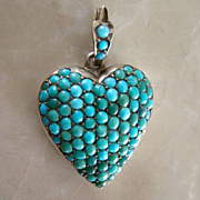 SOLD Antique Georgian Sterling Silver Pavé Turquoise Heart Locket, c.1790 - 1840! Charm Pendan