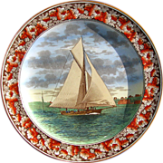 "Antique Wedgwood Sailboat Plate ""The Lillie"" at Telegraph Hill - Date Code for 1905"