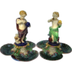Minton Majolica Bonbon Dishes with Putti SCIENCE & INDUSTRY designed by Hughes Protat - Date Code for 1864