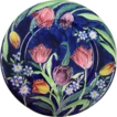 c1930 Maling Plate / Charger - Tube Lined  Tulips on Cobalt Blue