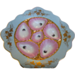 Antique Oyster Plate SQUARE Porcelain - Pink Gold & Blue SPECTACULAR!