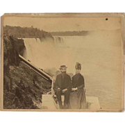 Niagara Falls Photograph c1875 Large Albumen  of a Couple &quot;at the Brink&quot;