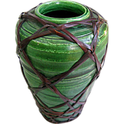 Tiny Awaji Vase c1910 - Emerald Green -  Wicker Weave Overlay
