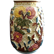"Art Pottery Majolica Vase H J Woods ""Indian Tree"" Pattern Vintage"